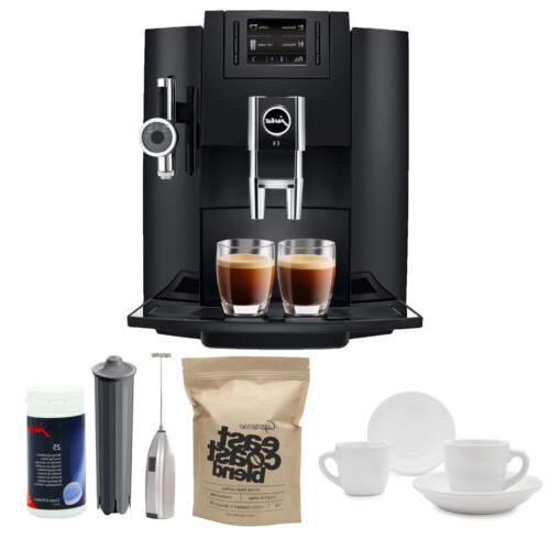 Jura E8 Espresso Machine with Knox Milk Frother and Coffee A