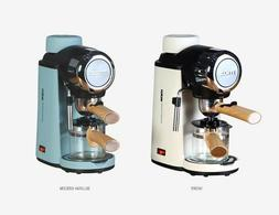 Electric Espresso Coffee Machine Milk Steam 4-Cup Wood Hand
